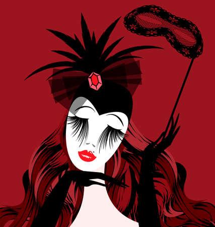 abstract dame met halfmasker Stock Illustratie