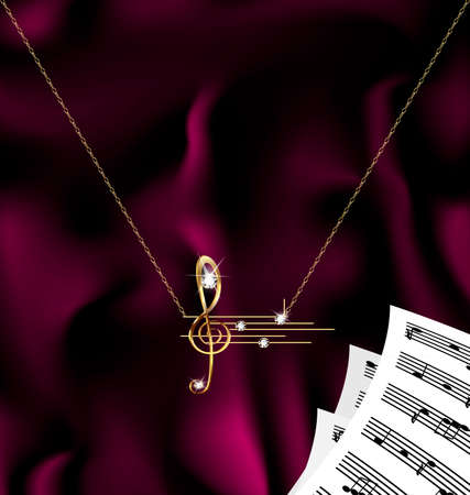 chainlet: chain with treble clef and notes