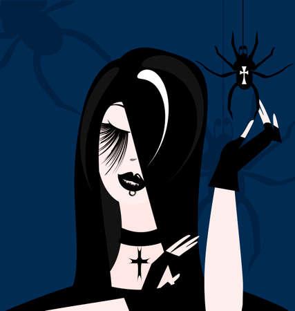 dark haired: gothic girl
