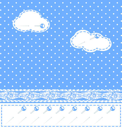 rounde: background fantasy blue with clouds, lace and pins