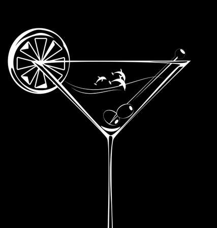 dark background and abstract glass of cocktail and fish