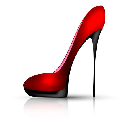 white background and the red black ladys shoe