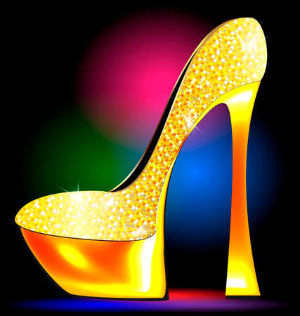 lady's: dark festive background and the golden ladys shoe