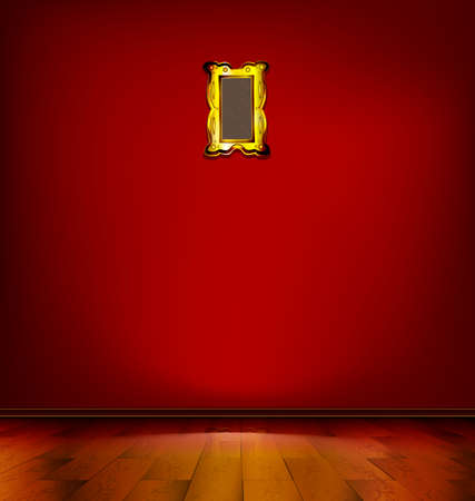 stilllife: empty red room with golden frame and wooden floor