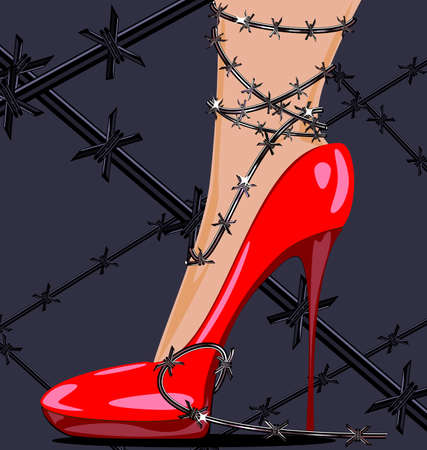 uneasiness: womans feet in red shoes and barbed wire