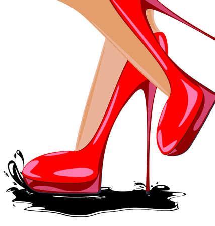 abstracte vrouwelijke voeten met rode schoenen en donkere plas