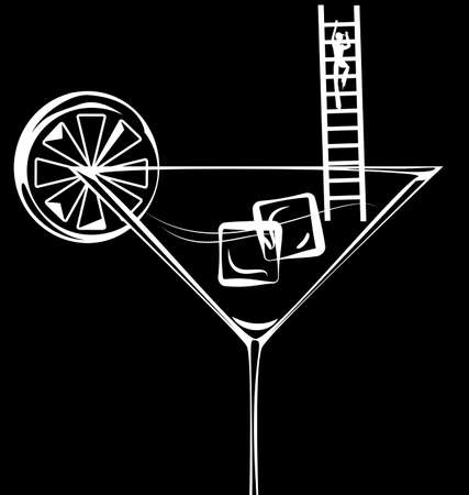 footway: dark background and abstract glass of cocktail and small ladder