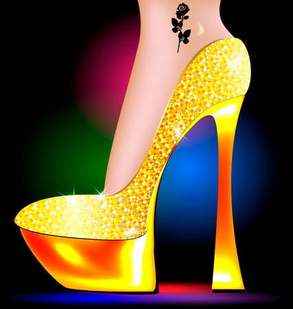 dark festive background and the ladys foot in the golden shoe