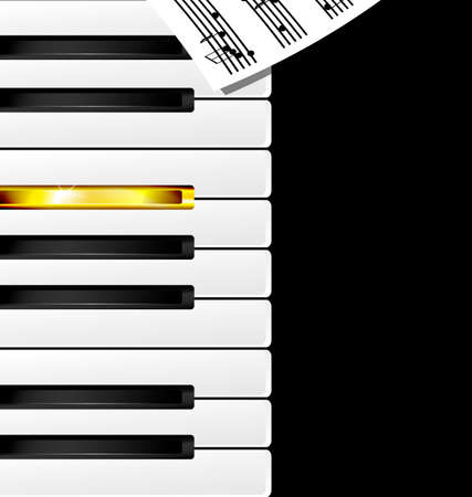 abstract black, white, golden piano keys and note Illustration