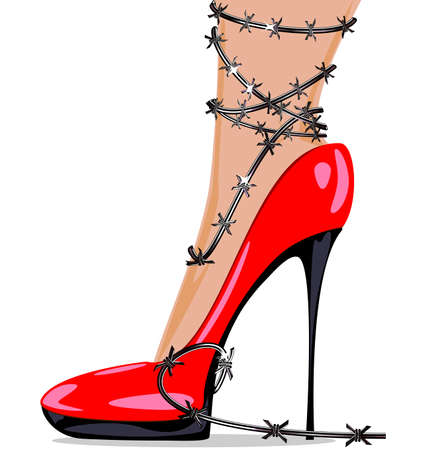 womans foot in red shoes and barbed wire