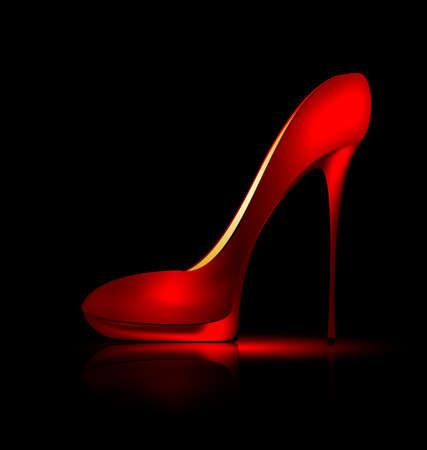 dark background and the red ladys shoe Illustration