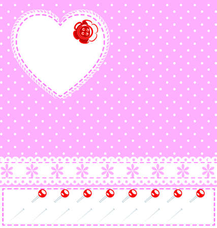 iron curtains: background fantasy pink with heart, lace and pins