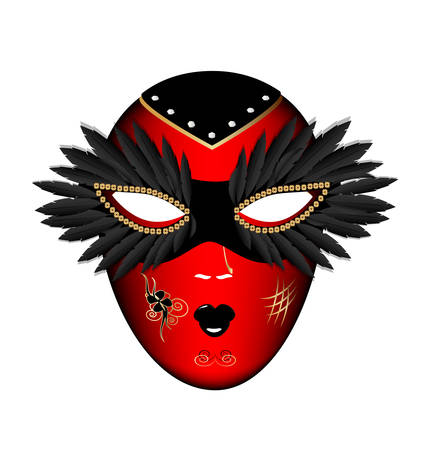 cabaret stage: white background and the large black-red carnival mask