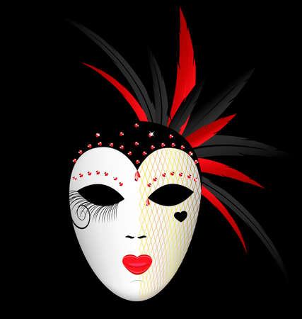mummer: dark background and the large white-red carnival mask