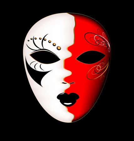 mummers: dark background and the large white-red carnival mask