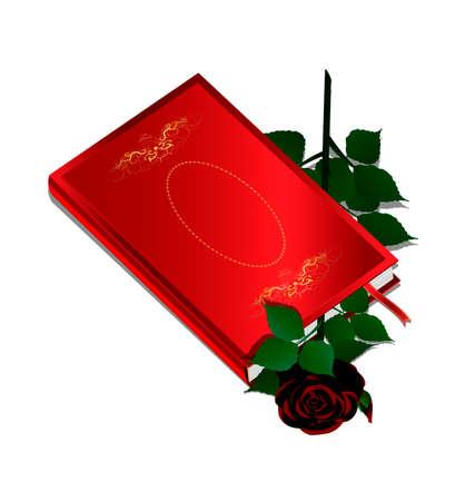 innen: wei�en Hintergrund und rotes Buch mit dunklen stieg im Inneren