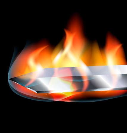 fiambres: un fondo oscuro y la cuchilla con la llama