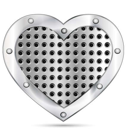metalline: white background and a big metal heart