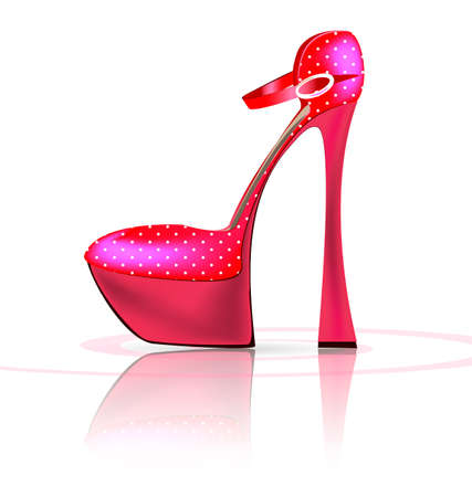 white background and the pink ladys shoe