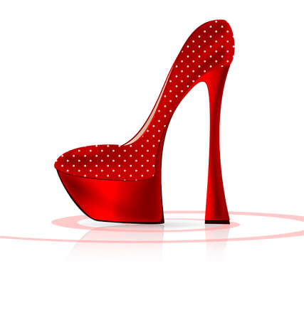 white background and the red ladys shoe