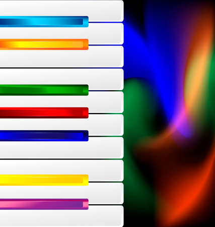 melodious: abstract varicolored keys and image of music Illustration