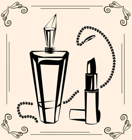 black outlines of vintage perfume and lipstick