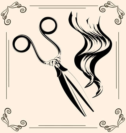strand of hair: black outlines of womans hair and vintage scissors Illustration