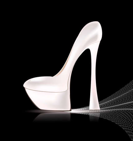 heelpiece: dark background and the white ladys shoe with veil