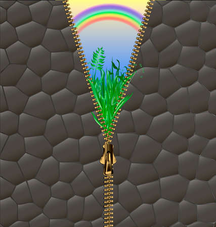 stone wall: abstract background with green field, rainbow and zipper Illustration