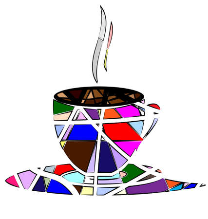 color mixing: abstract image cup of tea or coffee consisting of lines