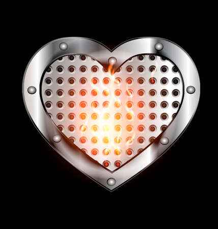 dark background and big burning metal heart