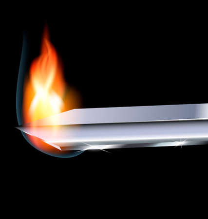 a dark background and the blade with fire Ilustração