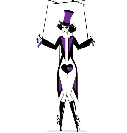 black-purple and white fantasy of hand puppet Harlequin