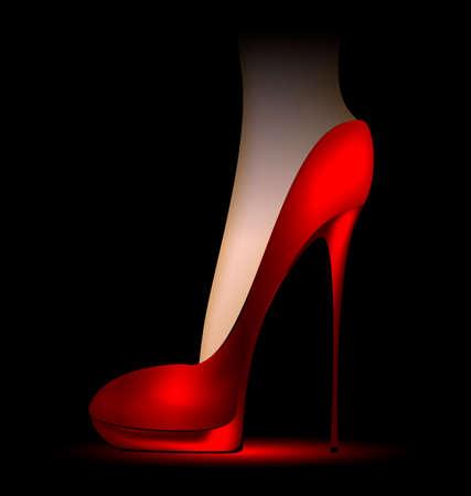 tacones rojos: fondo oscuro y el pie en un zapato ladys roja