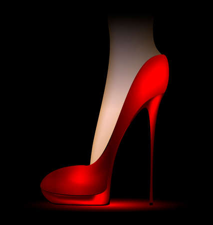 dark background and foot in a red ladys shoe Illustration