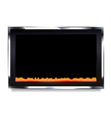 white background and the black electric fireplace Illustration