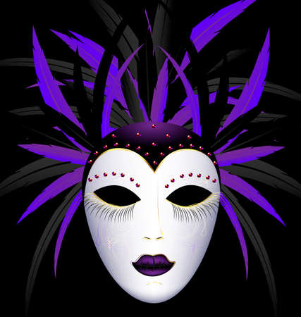mummer: dark background and the large white-purple carnival mask Illustration