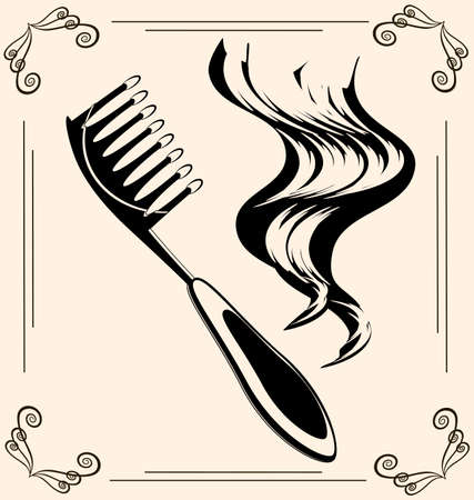 black outlines of womans hair and vintage brush