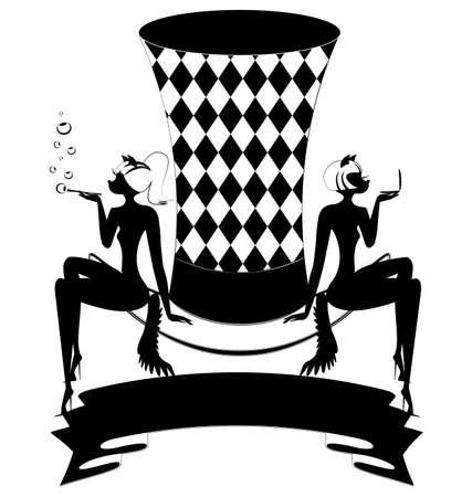 tophat: top-hat bianco-nero con nastro scuro e due astratti cat-girls