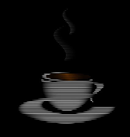 consisting: abstract image cup of tea or coffee consisting of lines