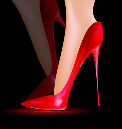 heelpiece: dark background and feet in a red ladys shoe Illustration