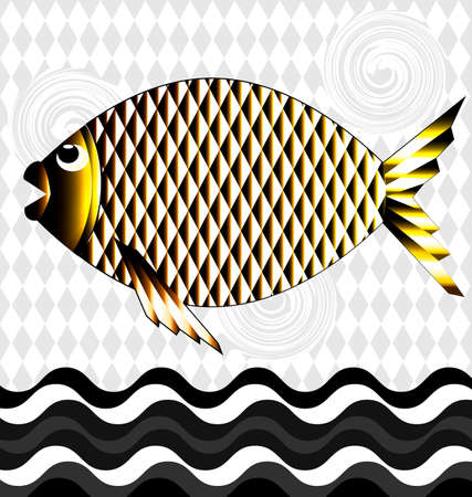 golden fish: black-white background and the big golden fish