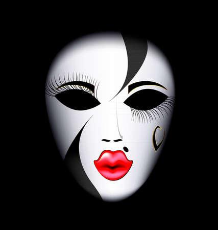 donkere achtergrond en de grote wit-rode carnaval masker