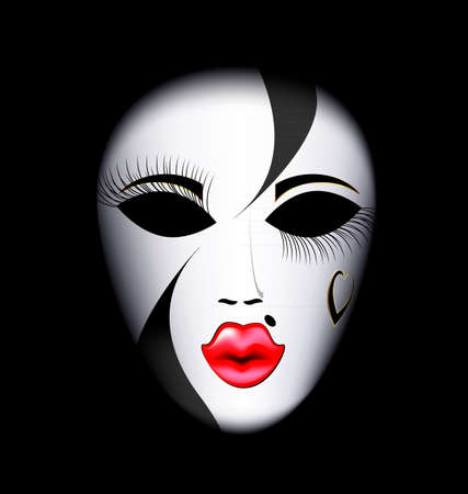 dark background and the large white-red carnival mask