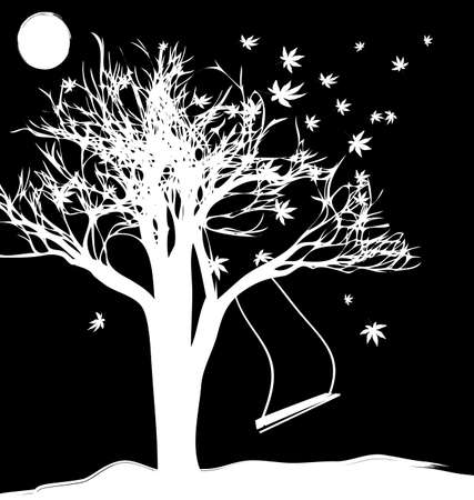 oscillation: black and white fantasy of a tree, the moon and sad swing