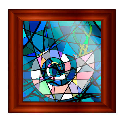 wooden frame and stained glass with image of shell