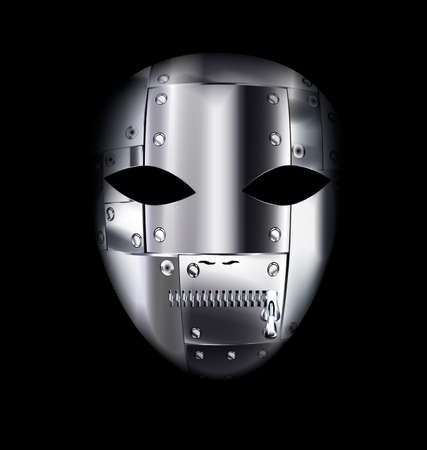 dramatics: dark background and the large metal carnival mask