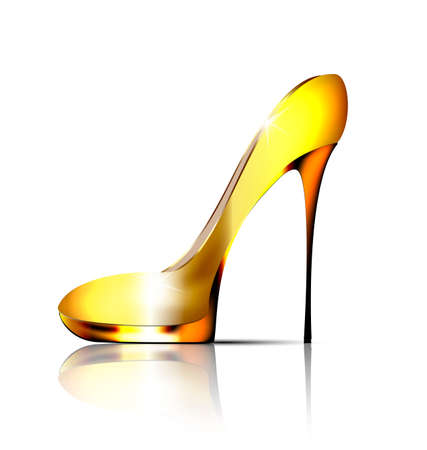 white background and the golden ladys shoe-spiky Vettoriali