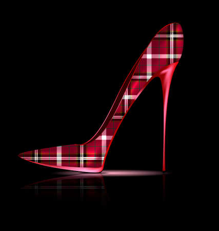 heelpiece: dark background and the red plaid ladys shoe