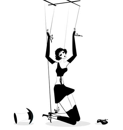 puppet woman: black and white fantasy of hand puppet Illustration